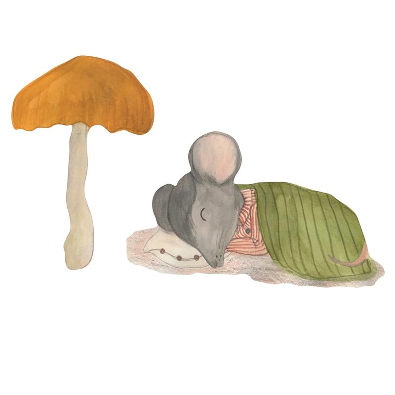 Stoff-Wandsticker 'Maus & Pilz' 21cm