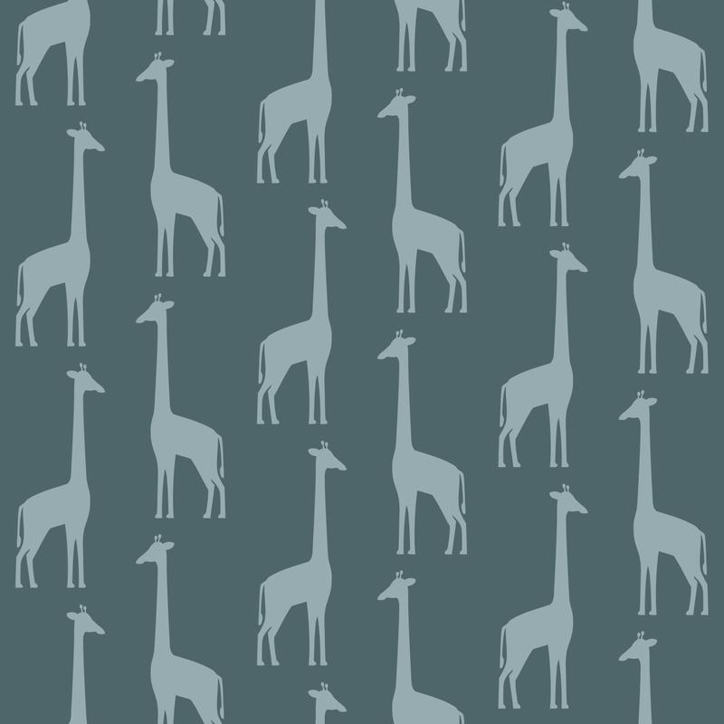 Vliestapete 'Giraffen' petrol/jade