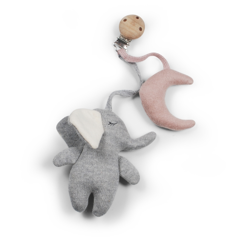 Bio Anhänger 'Elefant' Strick grau/rosa