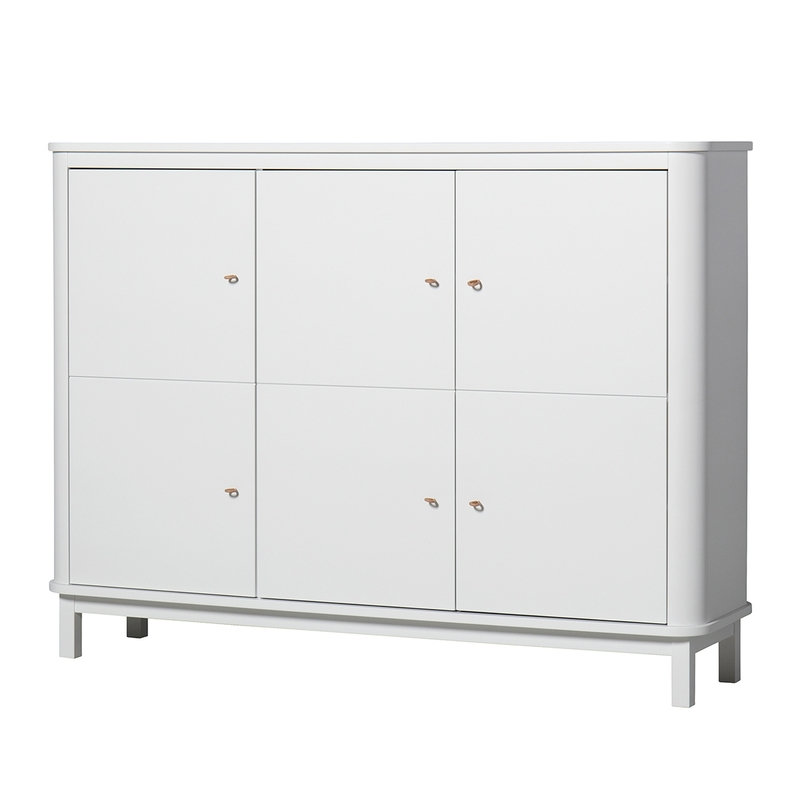 Multischrank 'Wood' weiß 3-türig