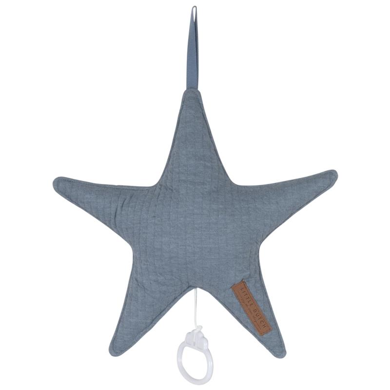 Spieluhr Stern 'Pure' Jersey blau ca. 27cm