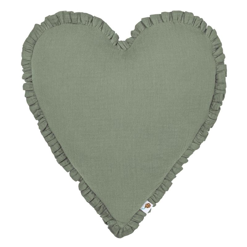 Kissen 'Herz' mit Rüschen khaki 40cm