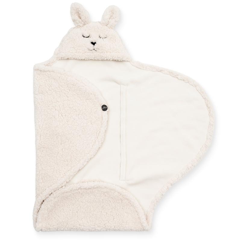 Wickeldecke mit Kapuze 'Bunny' Teddy creme