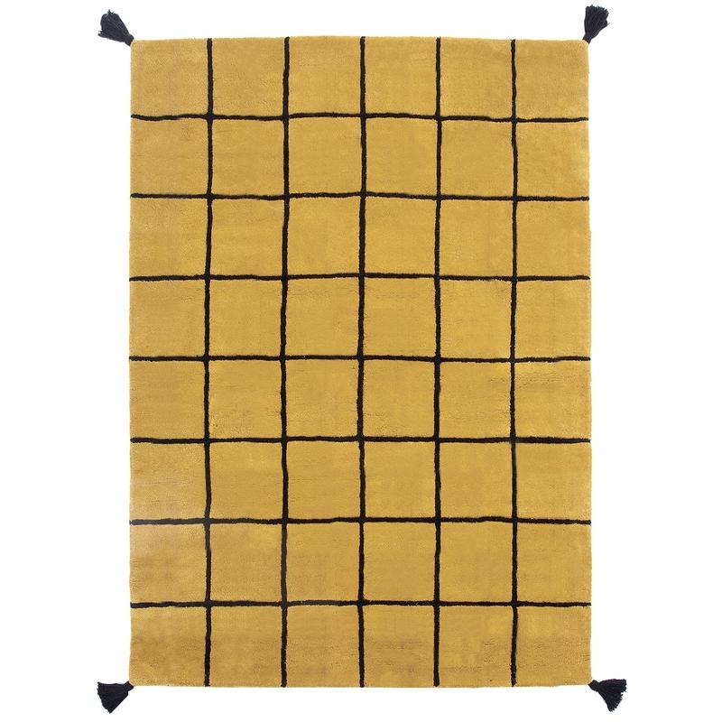 Teppich 'Karos' senfgelb/schwarz ca. 120x170cm