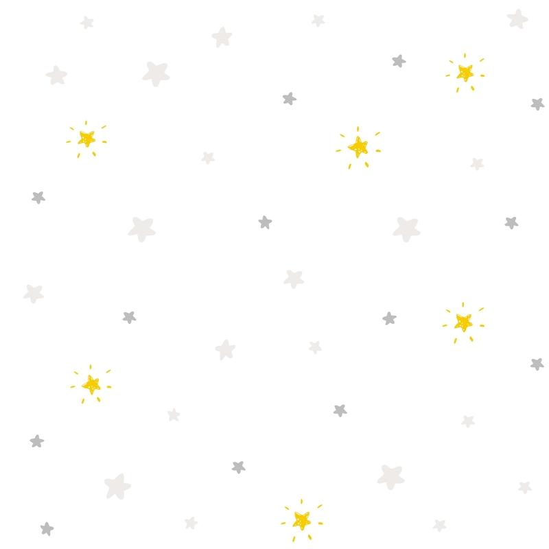 Tapete 'Sterne' hellgrau/senfgelb