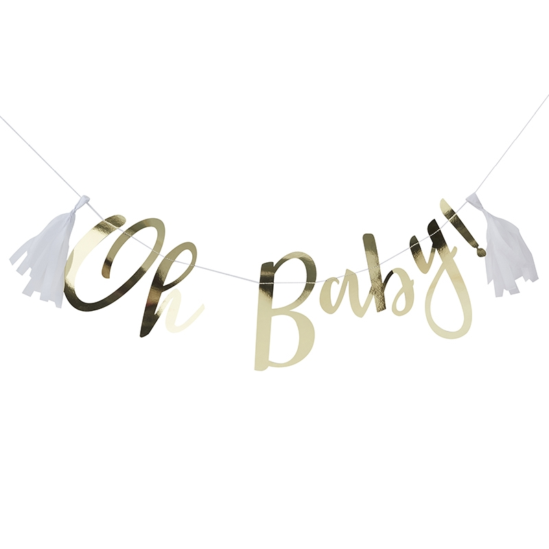 Babyparty Girlande 'Oh Baby' gold 150cm