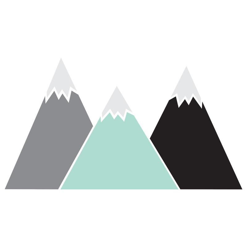 XL-Wandsticker 'Berge' mint mit Kreidetafel