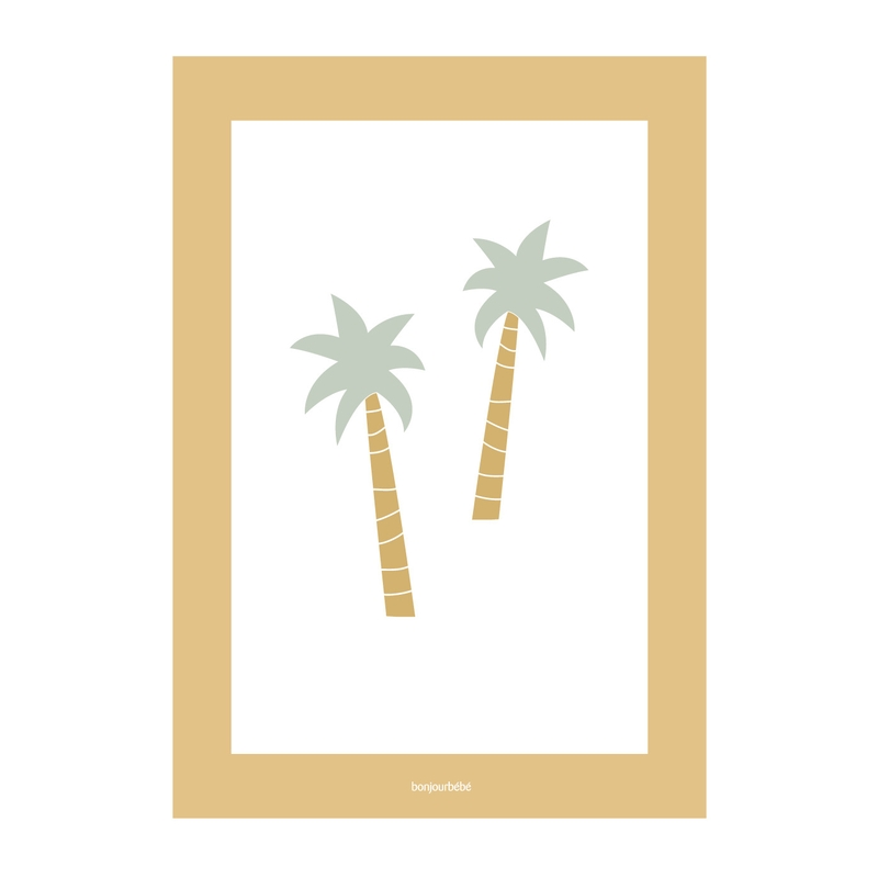 Poster 'Palmen' weiß/senfgelb 21x30cm