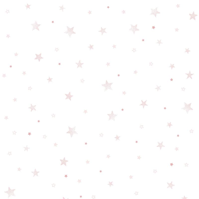 Vliestapete 'Stardust' Sterne weiß/rosa