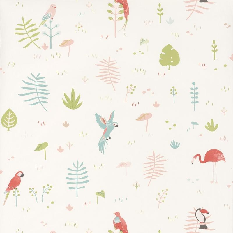 Tapete 'Happy Dreams' Vögel rosa/grün