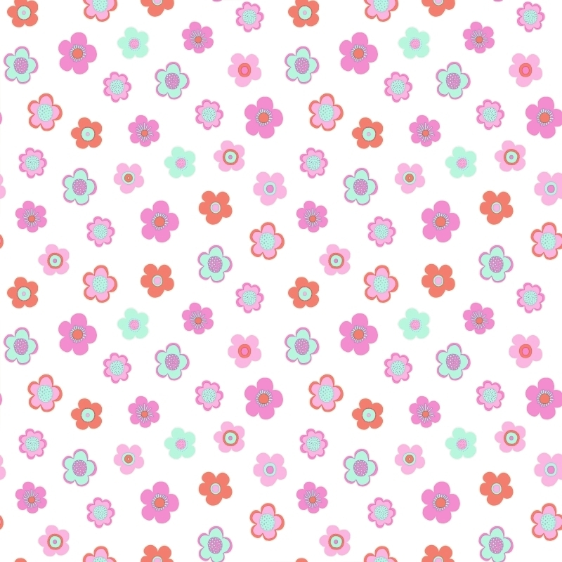 Vliestapete 'Vintage Flowers' rosa/mint