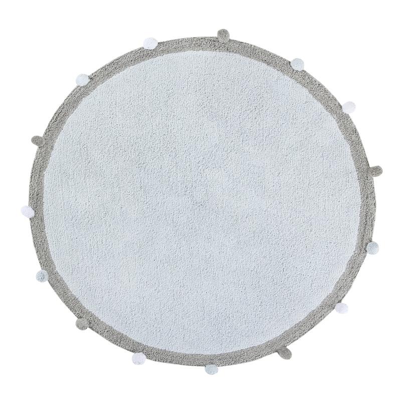 Teppich 'Bubble' rund blau/grau 120cm waschbar
