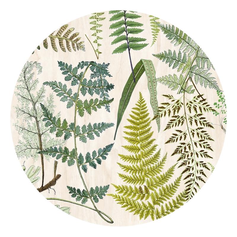 XL-Wandsticker 'Blätter' rund beige/grün