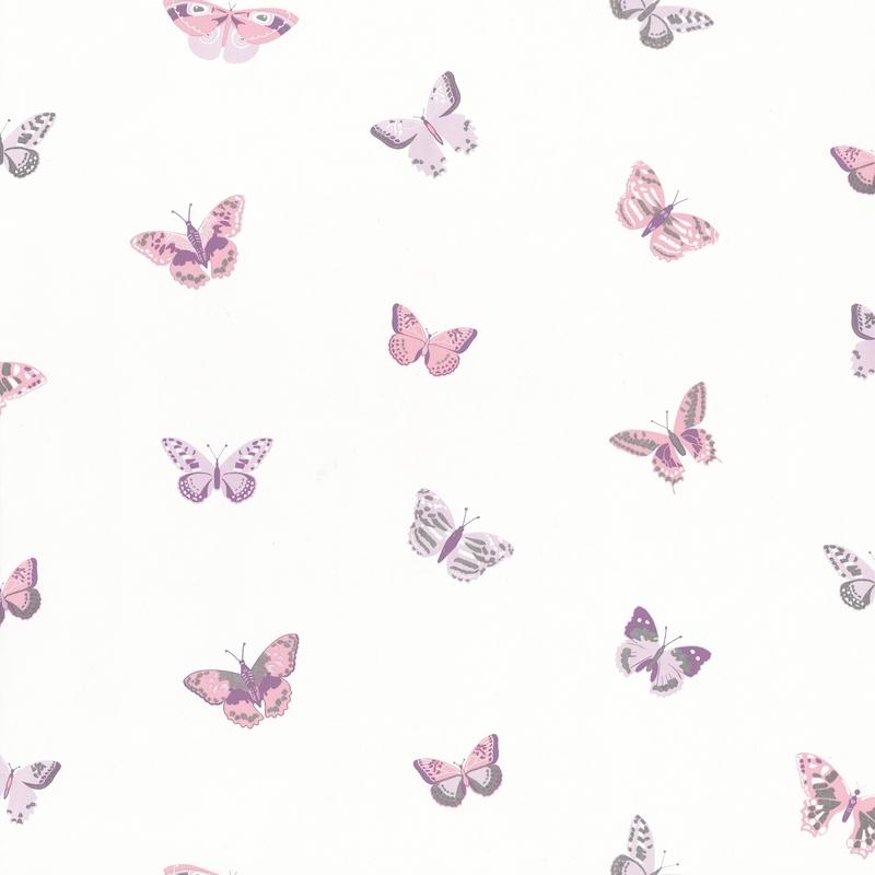 Tapete Schmetterlinge lila/silber 'Girl Power'