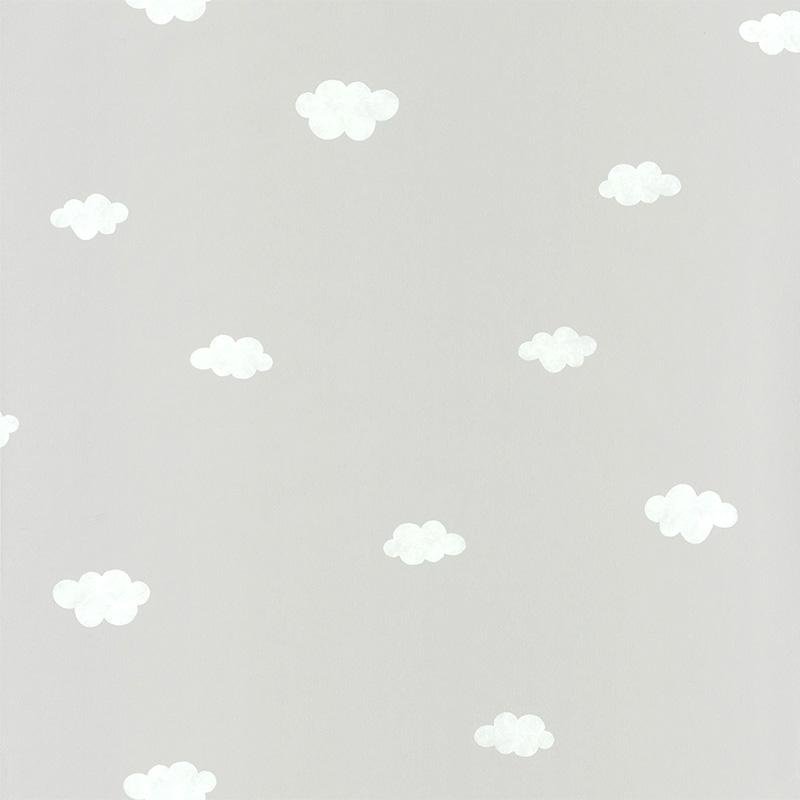 Tapete 'My Little World' Wolken hellgrau