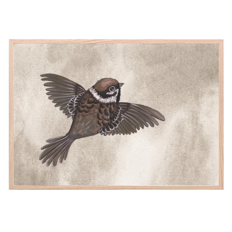 Kinderzimmer Poster 'Vogel' taupe