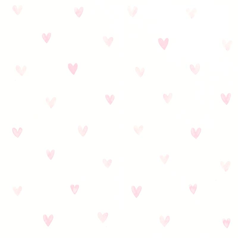 Vliestapete 'Herzen' weiß/puderrosa