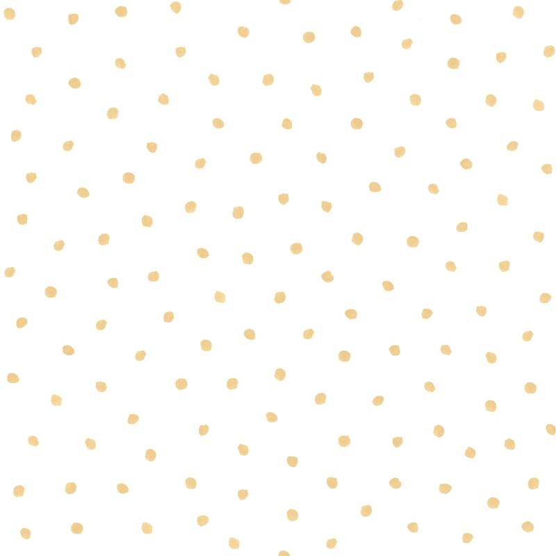 Vliestapete 'Punkte' weiß/gold