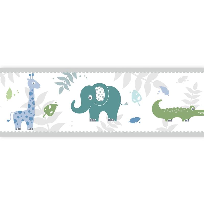 Bordüre Safari blau/grün selbstklebend
