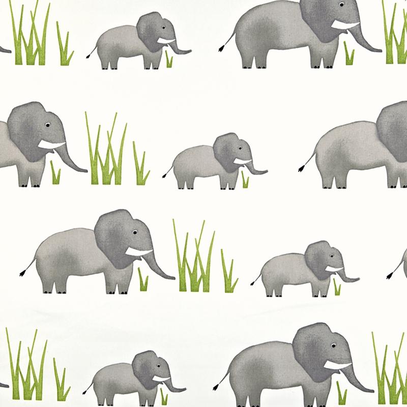 Kinderzimmer Stoff 'Elefanten' creme/grau