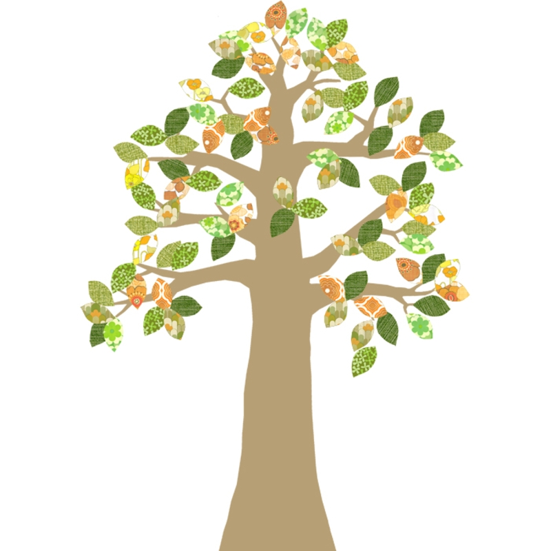 Tapetenbaum gold/orange/grün 230cm
