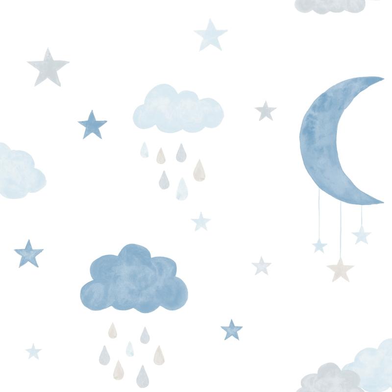Vliestapete 'Wolken & Sterne' blau/grau