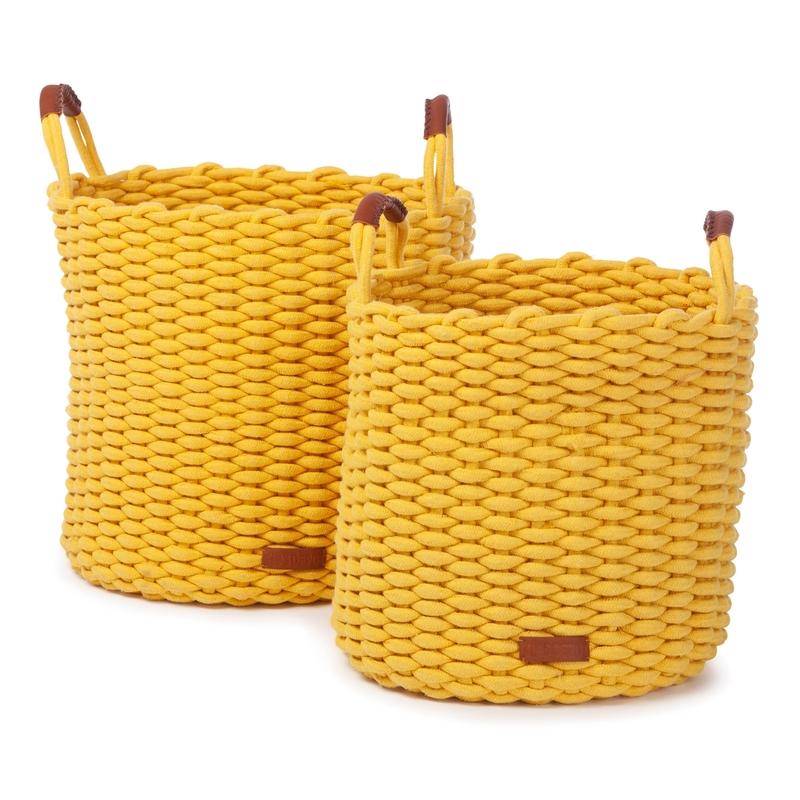 Flechtkörbe aus Baumwolle senfgelb 2er Set
