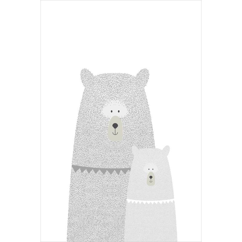 Fototapete 'Bären' grau/weiß 186x279cm