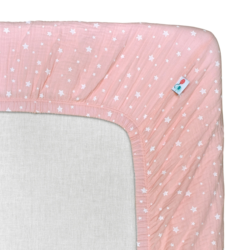 Spannbettlaken 'Sterne' Musselin puderrosa 70x140cm