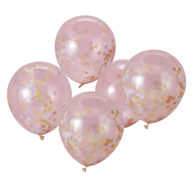 Konfetti-Luftballons 'Sterne' rosa 5 St.