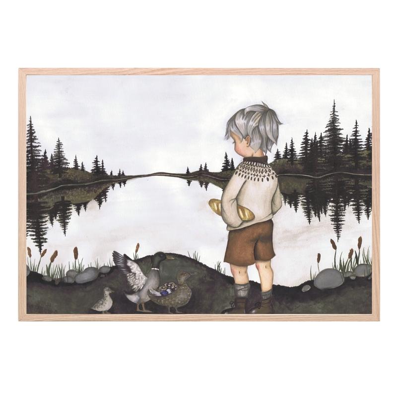 Kinderzimmer Poster 'Am See' dunkelgrau