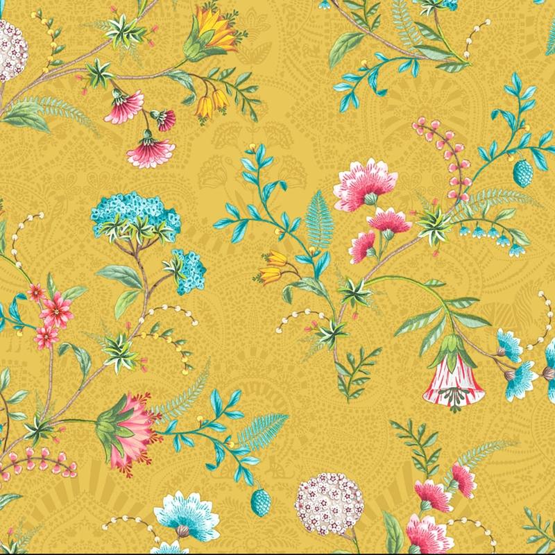 Vliestapete 'Blumen' senfgelb/perlmutt