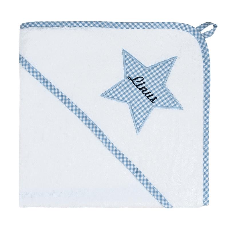 Kapuzenhandtuch Vichy blau personalisiert