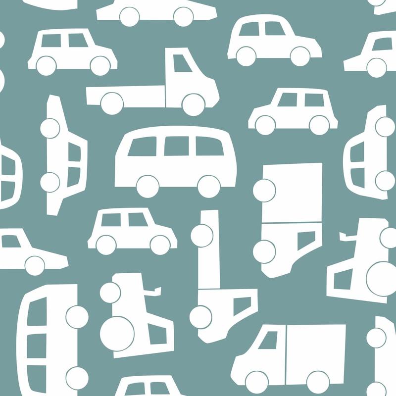 Vliestapete 'Autos' petrol/weiß