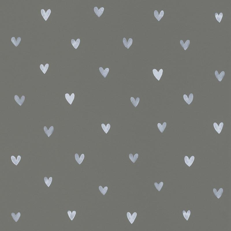 Vliestapete 'Herzen' dunkelgrau
