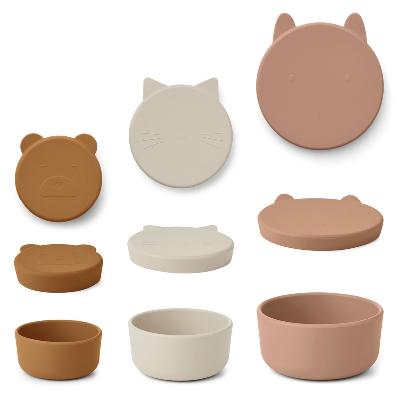 Brotdosen aus Silikon 3er Set rosa/camel