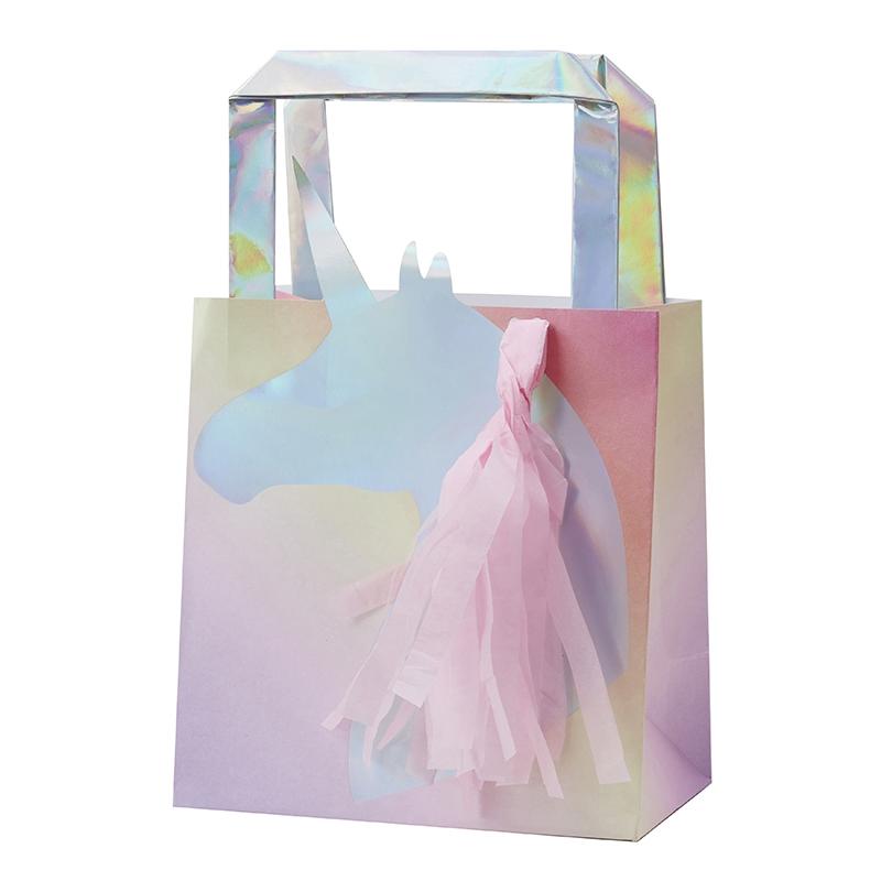 Geschenktüten 'Einhorn' silber/rosa 5 St.