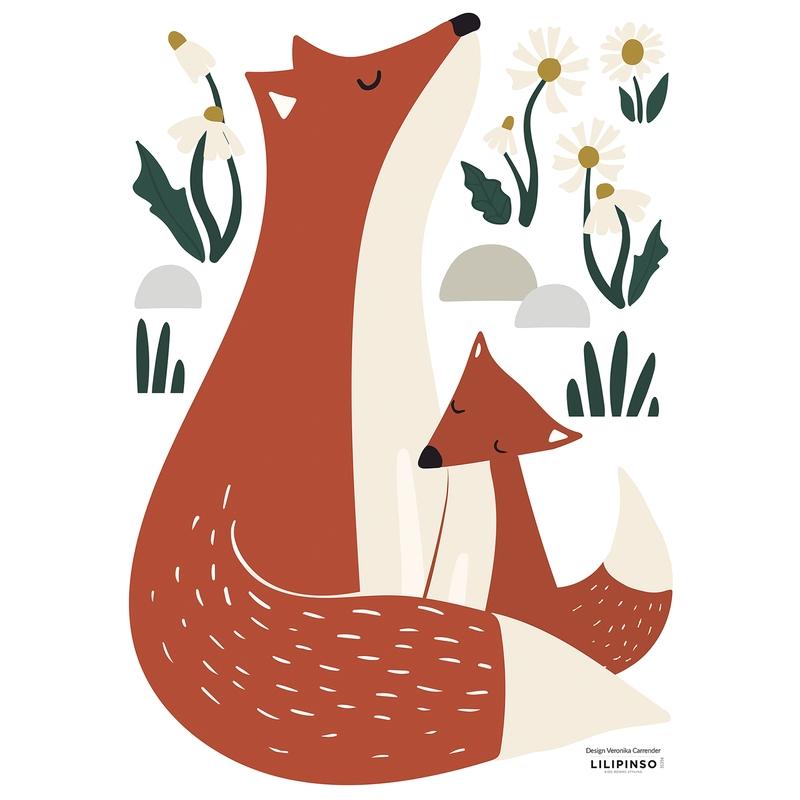 Wandsticker 'Fuchsfamilie' rostrot