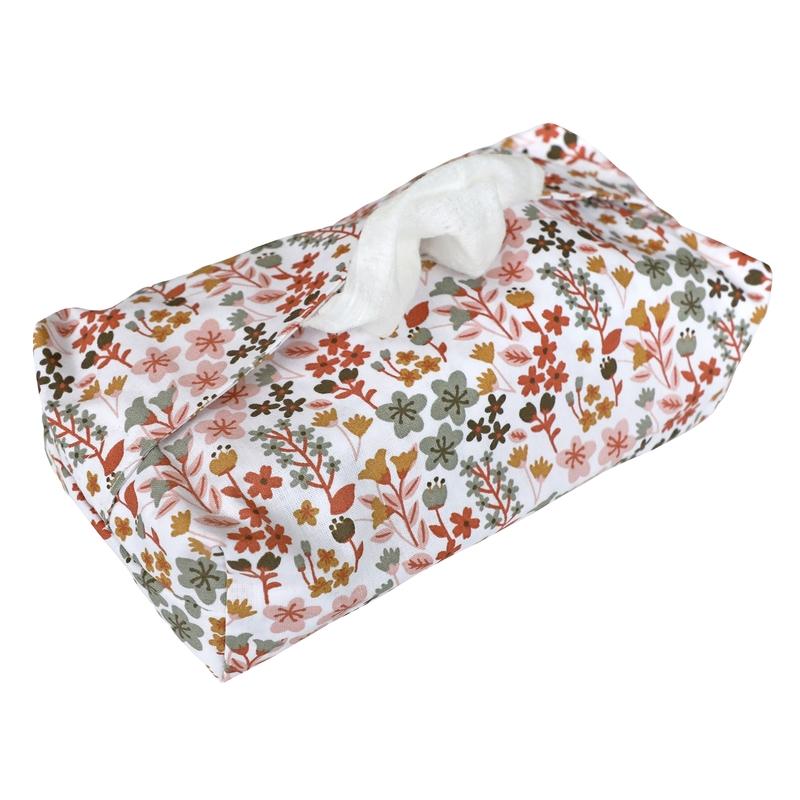 Feuchttücherbezug 'Blumen' rostrot/rosa