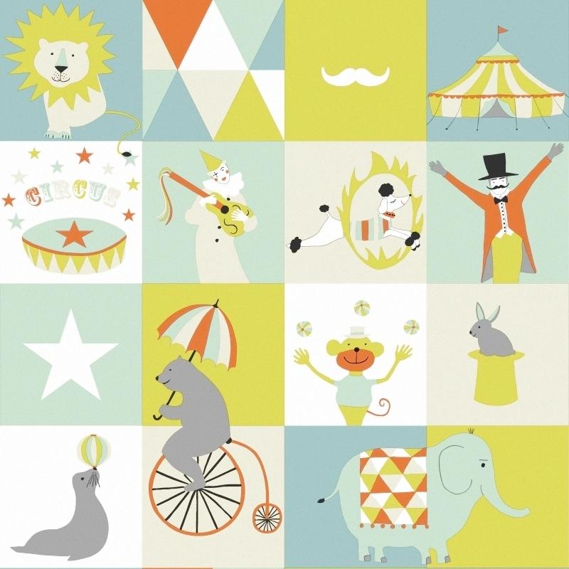 Vliestapete 'Zirkus' mint/orange/beige
