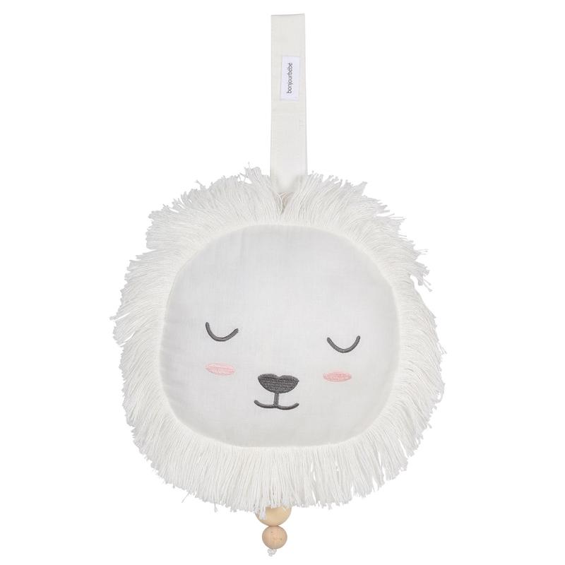 Spieluhr 'Löwe' Baumwolle cremeweiß