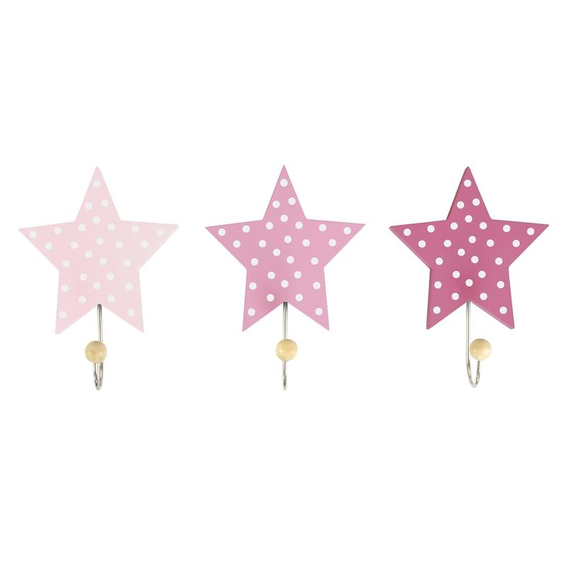Kleiderhaken 'Sterne' Holz rosa 3er Set