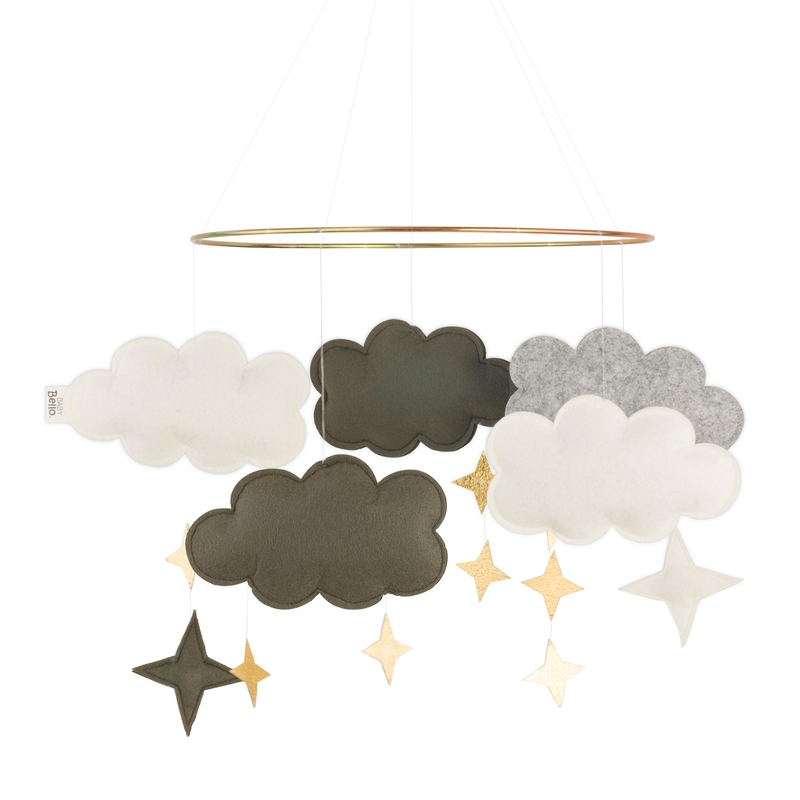 Mobile 'Wolken' Filz grün/gold