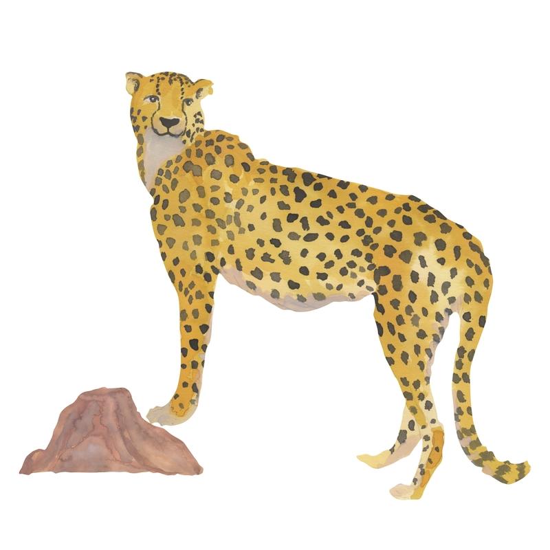 Stoff-Wandsticker 'Gepard' senfgelb 43cm
