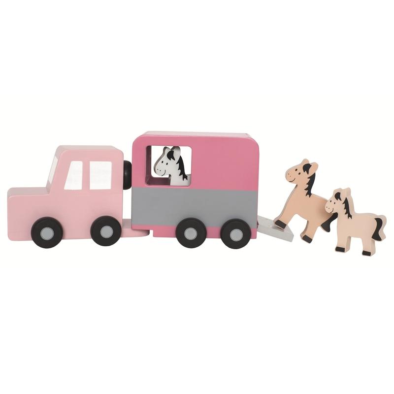 Holzauto mit Pferdeanhänger rosa ab 18 Monaten