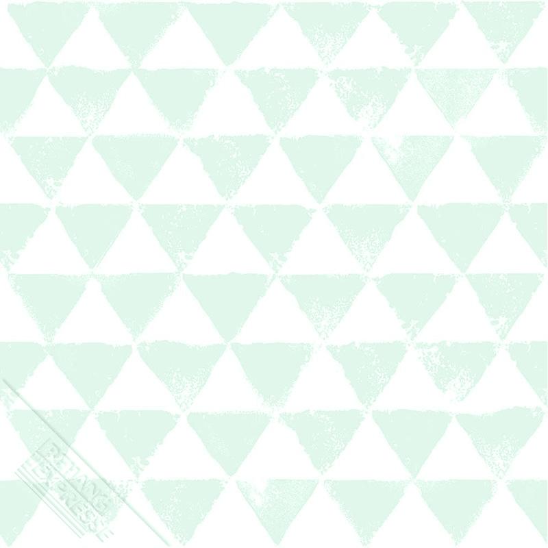 Kindertapete 'Dreiecke mint/weiß