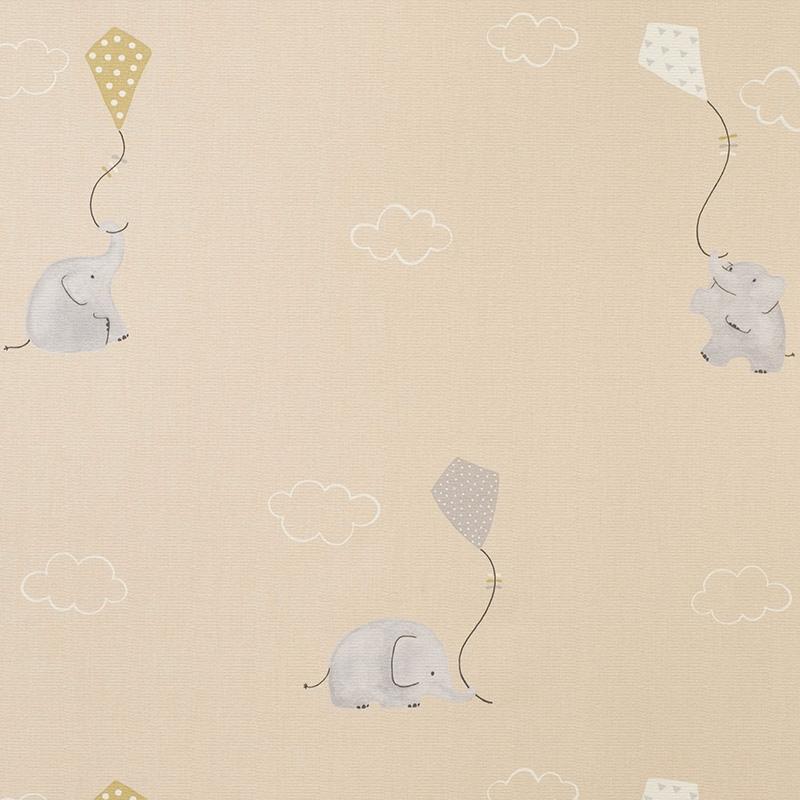 Stoff 'My Little World' Elefanten' beige/grau