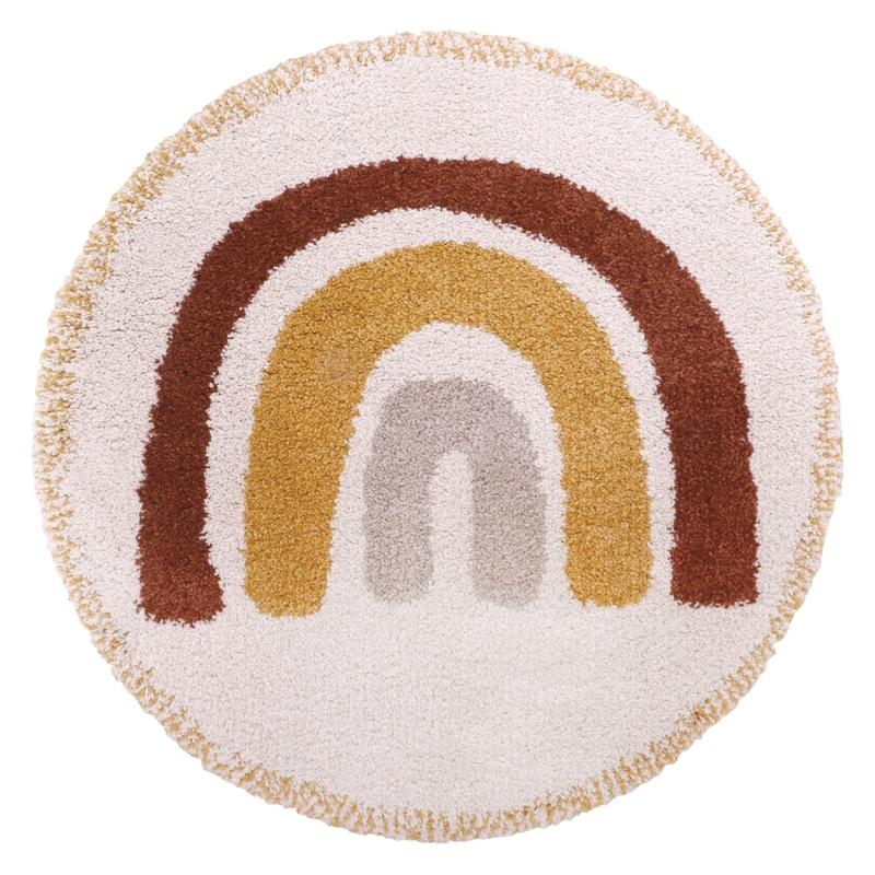 Teppich 'Regenbogen' rund rostrot/senf