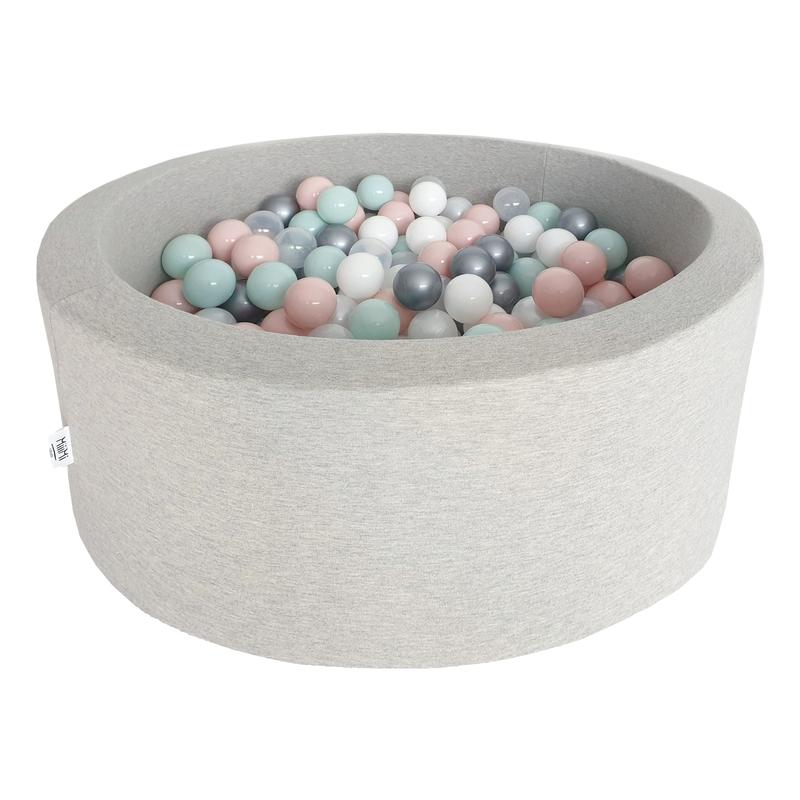 Bällebad grau 200 Bälle rosa/mint/silber