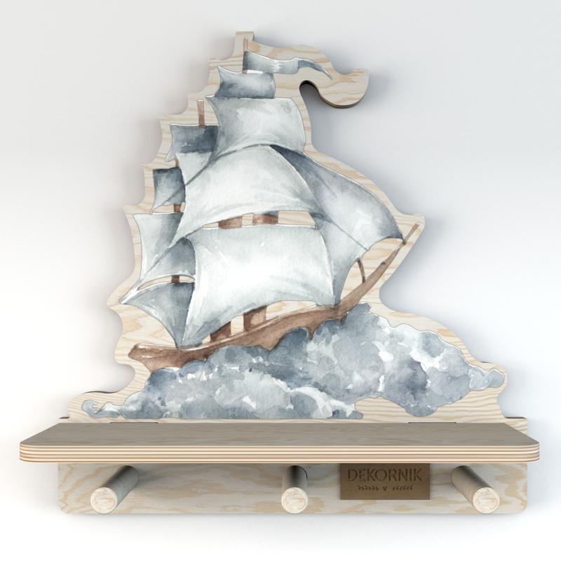 Wandregal & Garderobe 'Schiff' blau 32cm